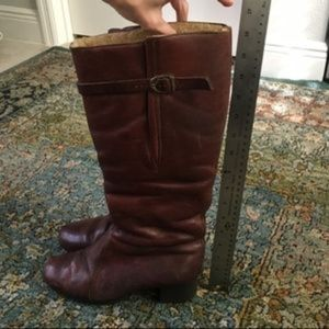 Vintage Shoes - Vintage Tall Leather sheepskin lined boots